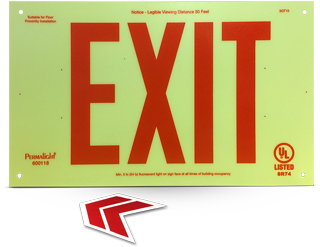Luminous Unframed Red Exit Sign