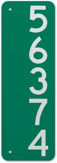 Green Vertical 911 Address Sign