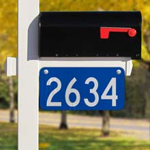 Blue Horizontal 911 Address Sign