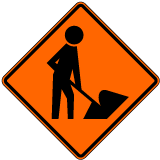 Workers Ahead Symbol Sign