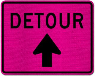 Pink Detour Sign (Up Arrow)