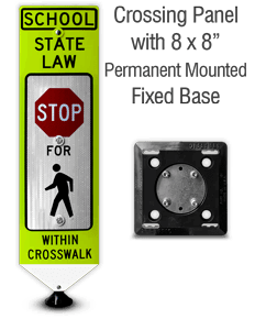 School Stop For Pedestrians In-Street Sign with Fixed Base