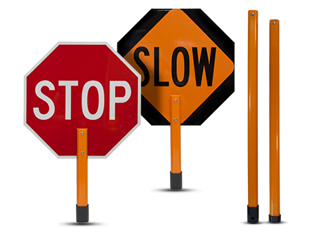 Stop / Slow Rigid Sign with Handle & Staff