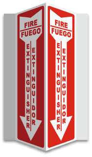 Bilingual 3-Way Fire Extinguisher Sign