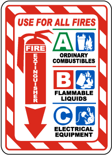 Use For All Fires Fire Extinguisher A Ordinary Combustibles B Flammable Liquids C Electrical Equipment Sign