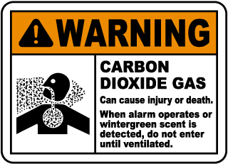 Warning Carbon Dioxide Gas Can cause injury Sign