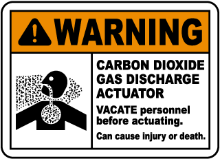 Warning Carbon Dioxide Gas Discharge Actuator Vacate Personnel Sign