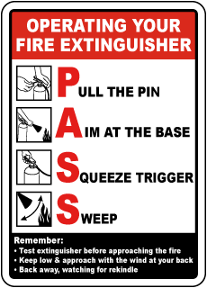 Operating Your Fire Extinguisher Pull The Pin Sign