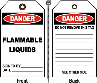Danger Flammable Liquids Tag