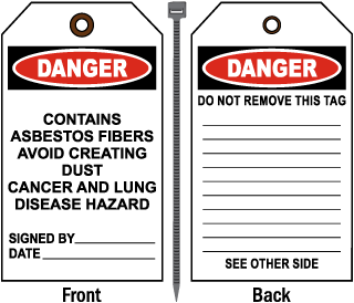 Danger Contains Asbestos Fibers Avoid Tag