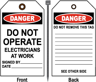 Danger Do Not Operate Electricians At Work Tag