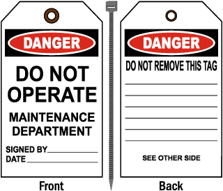 Danger Do Not Operate Maintenance Department Tag