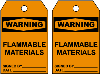 Warning Flammable Materials Tag