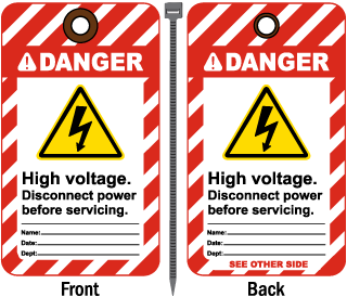 Danger High voltage Disconnect power before servicing Tag