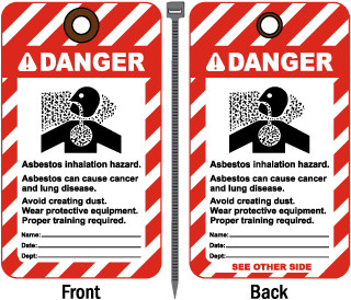 Danger Asbestos Inhalation Hazard Tag