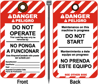Bilingual - Spanish Danger Do Not Operate This Lock/Tag may only be removed by Tag