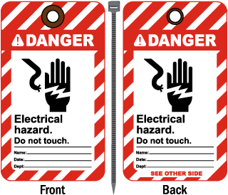 Danger Electrical hazard. Do not touch tag