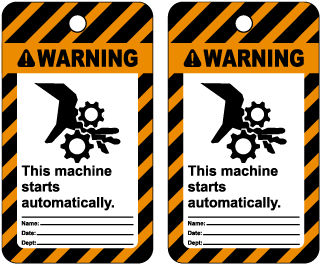 Warning This machine starts automatically Tag