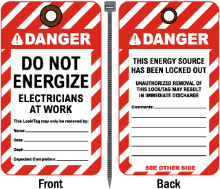 Do Not Energize Electricians at Work Tag
