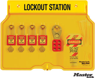 Wall-Mount Lockout Station Complete with 4 Padlocks