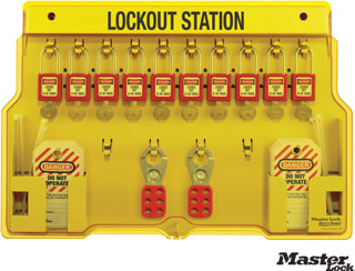 Wall-Mount Filled Lockout Station with 10 Padlocks