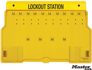Wall-Mount Empty Lockout Station with 10 Padlocks