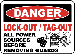 Danger Lock-Out / Tag-Out All Power Sources Before Removing Guards
