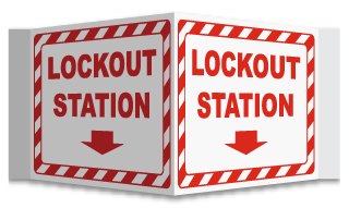 3-Way Lockout Station Arrow Sign