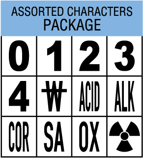 Package with 1 of each 0, 1, 2, 3, 4, Radioactive symbol, W with line thru, ACID, ALK, COR, OXY, SA