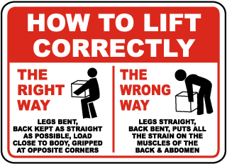 How To Lift Correctly The Right Way Legs Bent Back Kept As Straight As Possible Sign