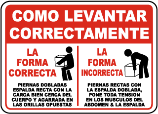 Spanish How To Lift Correctly Sign