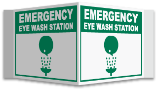 3-Way Emergency Eye Wash Sign