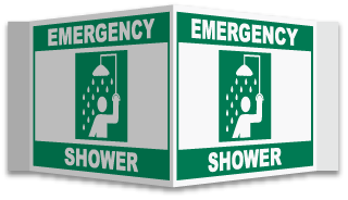 3-Way Emergency Shower Sign