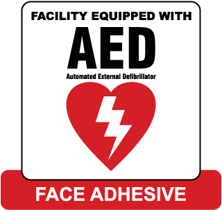 Facility Equipped With AED Automated External Defibrillator Label