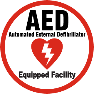 AED Automated External Defibrillator Equipped Facility Label