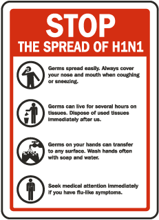 Stop The Spread Of H1N1 Swine Flu sign