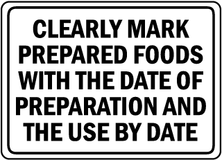 Clearly Mark Prepared Foods With The Date Of Preparation And The Use By Date sign