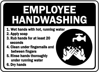 Employee Handwashing 1. Wet hands with hot, running water sign