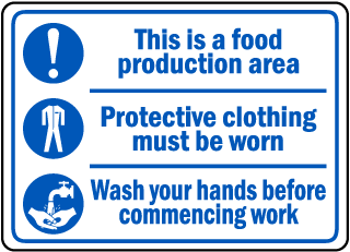 This is a food production area. Protective clothing must be worn sign