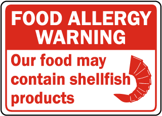 Food Allergy Warning: Our food may contain shellfish products sign