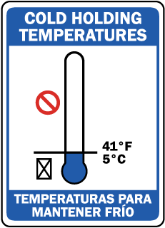 Cold Holding Temperatures - Temperaturas Para Mantener Frio sign