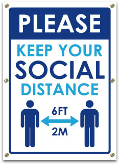 Please Keep Your Social Distance Banner