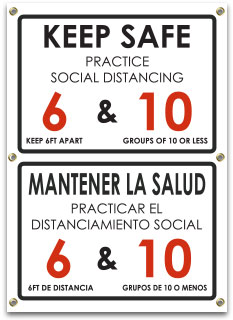 Bilingual Keep Safe Practice Social Distancing Banner