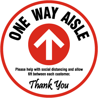 One Way Aisle Floor Sign