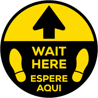 Bilingual Wait Here Floor Sign