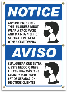 Bilingual Wear a Face Mask Banner