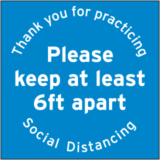 Thank You For Practicing Social Distancing Please Keep at Least 6ft Floor Sign