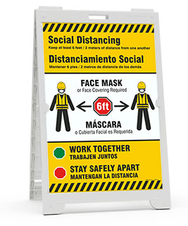 Bilingual Social Distancing, Face Mask Required Sandwich Board Sign