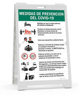 Spanish COVID-19 Prevention Measures Sandwich Board Sign