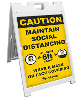 Caution Maintain Social Distancing Sandwich Board Sign